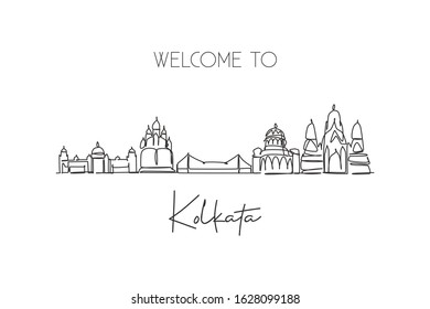 One single line drawing of Kolkata city skyline, India. Historical town landscape in the world. Best holiday destination. Editable stroke trendy continuous line draw design vector graphic illustration