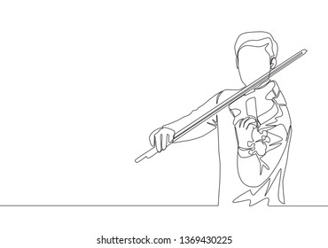 One single line drawing of male violinist performing to play violin on music festival. Musician artist performance concept continuous line draw design illustration
