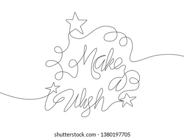 One single line drawing of motivational and inspirational lettering typography quote - Make a Wish. Calligraphic design for print, card, banner, poster. Continuous line draw design illustration