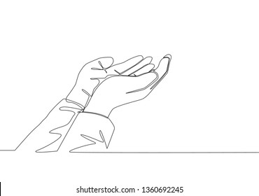One single line drawing of muslim people open and raise hands to pray to God. Islamic holy day Ramadan Kareem and Eid Mubarak greeting card concept continuous line draw design vector illustration