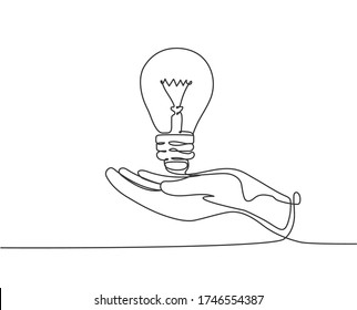One single line drawing of open palm hand holding bright lightbulb for invention company logo identity. Creativity icon concept from bulb shape. Trendy continuous line draw design vector illustration
