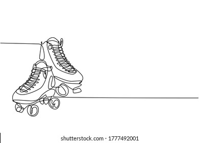 One single line drawing of pair of old retro plastic quad roller skate shoes. Trendy vintage classic sport concept continuous line draw graphic design vector illustration