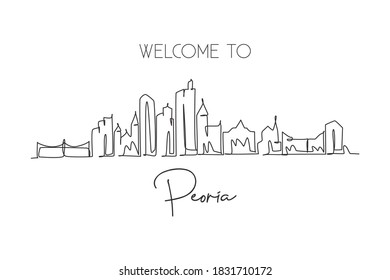 One single line drawing Peoria city skyline, Illinois. World historical town landscape poster. Best holiday destination postcard. Editable stroke trendy continuous line draw design vector illustration