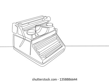 One single line drawing of retro old classic typewriter set from side view. Vintage office item concept continuous line draw design illustration