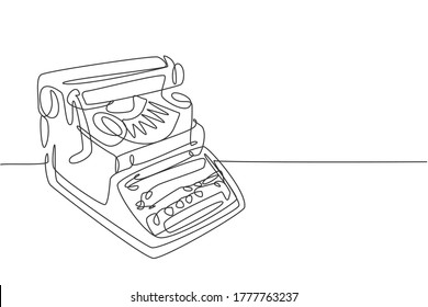 One single line drawing of retro old classic typewriter set from side view. Vintage office item concept continuous line draw graphic design vector illustration