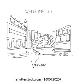 One single line drawing Rialto Bridge landmark. World famous iconic canal in Venice Italy. Tourism travel postcard home wall decor poster print concept. Continuous line draw design vector illustration