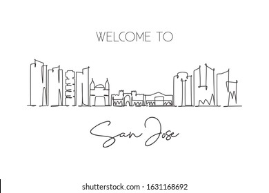 One single line drawing of San Jose city skyline, Costa Rica. World historical town landscape. Best place holiday destination. Editable stroke trendy continuous line draw design vector illustration