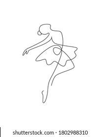 One single line drawing sexy woman ballerina vector illustration. Minimalist pretty ballet dancer show dance motion concept. Wall decor poster fashion print. Modern continuous line draw graphic design