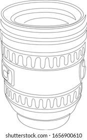 Eine einzelne Zeichnung von Slr- oder DSLR-Objektiven. Konzept der Fotografie Ausrüstung kontinuierliche Linie ziehen Design-Illustration. Vektorillustration