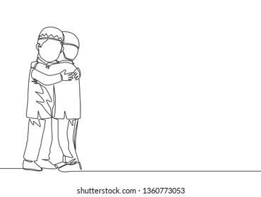 One single line drawing of two young happy muslim boys hugging to forgive each other. Eid Al Fitr Mubarak and Ramadan Kareem greeting card concept continuous line draw design illustration