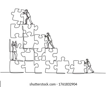 One single line drawing of two young businessman push and arrange puzzle pieces to build a strong building. Trendy business teamwork concept continuous line draw design graphic vector illustration