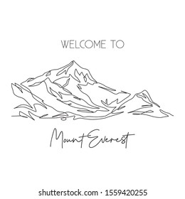 One single line drawing of welcome to Himalaya Mount Everest landmark. World famous place in Nepal. Tourism and travel post card concept. Modern continuous line draw design vector illustration