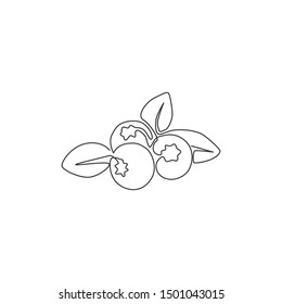 One single line drawing of whole healthy organic blueberries for orchard logo identity. Fresh blue berry fruitage concept for fruit garden icon. Modern continuous line draw design vector illustration