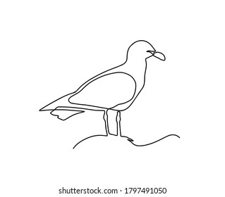 One single line drawing of wild seagull. Cute bird mascot concept for conservation national park symbol. Continuous line draw design graphic illustration vector. One line seagull sitting on a rock.