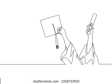 One single line drawing of young happy graduate college students lift up a graduation letter and hat. Graduate from school concept continuous line draw design illustration
