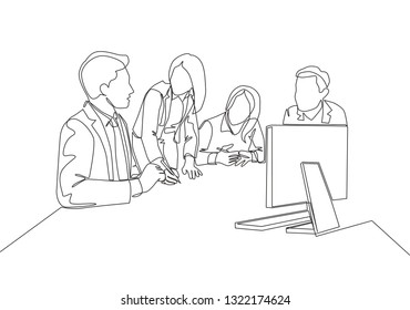 One single line drawing of young happy male and female business owner do conference about work together through computer monitor. Business collaboration concept continuous line draw illustration