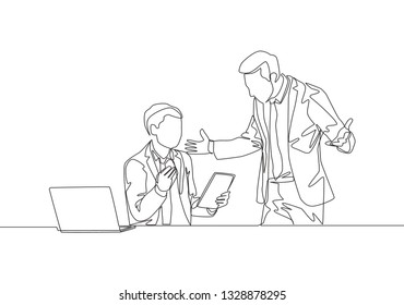 One single line drawing of young upset manager asking his staff about sales data performance mistakes. Work problem concept continuous line draw design illustration