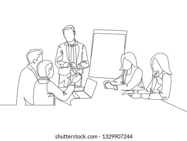 One single line drawing of young businessman giving business coaching to class members. Group training concept continuous line draw design illustration