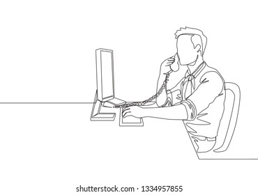 One single line drawing of young director get a phone call to his team member. Business talk concept continuous line draw design illustration