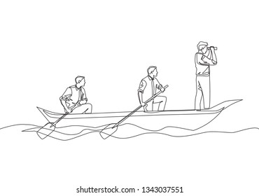 One single line drawing of young team membere take a boat heading to an island while the leader navigatee them using binocular. Teamwork concept continuous line draw design illustration