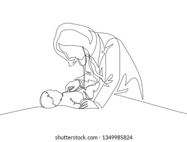 One single line drawing of young female pediatric doctor examining baby health condition and check the heart beat. Medical health care concept continuous line draw design illustration
