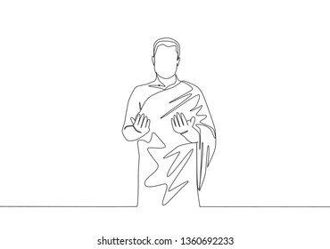 One single line drawing of young muslim person in ihram cloth to do hajj and praying. Islamic holy day Ramadan Kareem and Eid Mubarak greeting card concept continuous line draw design illustration