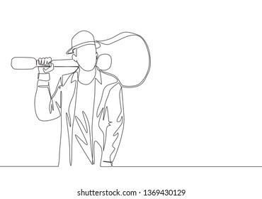 One single line drawing of young happy male guitarist standing while put the guitar on his shoulder. Musician artist performance concept continuous line draw design illustration