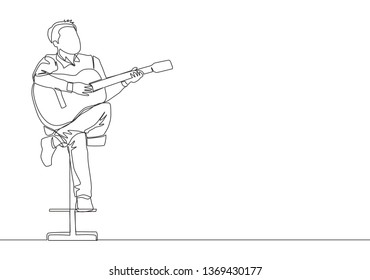 One single line drawing of young happy male guitarist playing acoustic guitar while sitting on chair. Musician artist performance concept continuous line draw design illustration