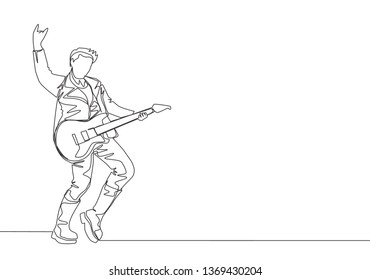 One single line drawing of young happy male guitarist playing electric guitar on music festival stage. Musician artist performance concept continuous line draw design illustration