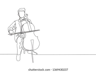 One single line drawing of young happy male cellist performing to play cello on classical orchestra concert. Musician artist performance concept continuous line draw design illustration