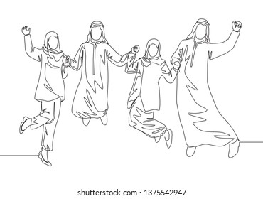 One single line drawing of young business people muslim jump together to celebrate. Saudi Arabian businessmen with shmag, kandora, headscarf, thobe, ghutra. Continuous line draw design illustration