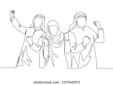 One single line drawing of young muslim sales marketing show solid teamwork. Saudi Arabian businessmen with shmag, kandora, headscarf, thobe, ghutra. Continuous line draw design illustration