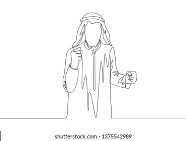 One single line drawing of young happy muslim business man raise hand and celebrate. Saudi Arabian businessmen with shmag, kandora, headscarf, thobe, ghutra. Continuous line draw design illustration