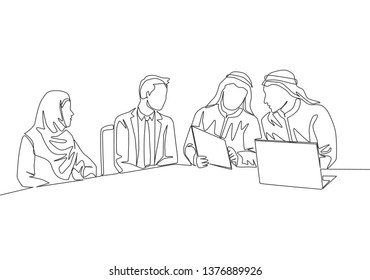 One single line drawing of young happy muslim businessman discussing deal project together. Saudi Arabia cloth shmag, kandora, headscarf, thobe, ghutra. Continuous line draw design illustration