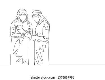 One single line drawing of young happy muslim managers discussing stock exchange movements. Saudi Arabia cloth shmag, kandora, headscarf, thobe, ghutra. Continuous line draw design illustration