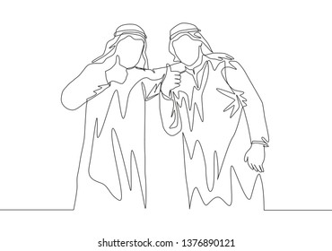 One single line drawing of young happy muslim businessman giving thumbs up gesture with colleague. Saudi Arabia cloth shmag, kandora, headscarf, thobe, ghutra. Continuous line draw design illustration