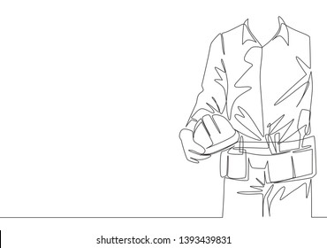 One single line drawing of young construction foreman wearing tools belt and holding helmet. Repairman construction maintenance service concept. Continuous line draw design illustration