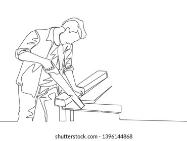 One single line drawing of young handsome craftsman cutting wooden board using handsaw. House maintenance service concept continuous line draw design illustration