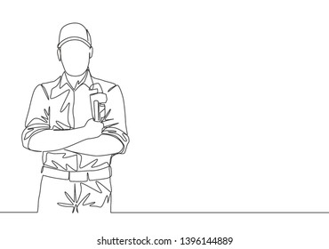 One single line drawing of young handsome plumber wearing uniform and holding a pipe wrench. House maintenance service concept continuous line draw design illustration