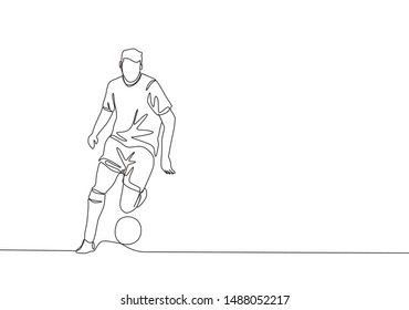 One single line drawing of young football playmaker dribbling a ball so calm at the match. Soccer match sports concept. Continuous line draw design vector illustration