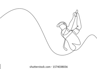 One single line drawing of young sporty golf player hit the ball using golf club graphic vector illustration. Healthy sport concept. Modern continuous line draw design for golf tournament poster