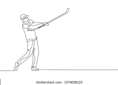 One single line drawing of young sporty golf player hit the ball using golf club vector graphic illustration. Healthy sport concept. Modern continuous line draw design for golf tournament poster