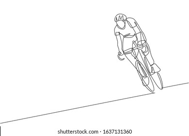 One single line drawing of young energetic man bicycle racer training in the road graphic vector illustration. Racing cyclist concept. Modern continuous line draw design for cycling tournament banner