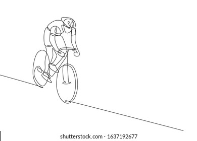 One single line drawing of young energetic man bicycle racer focus to chase after rival vector illustration. Racing cyclist concept. Modern continuous line draw design for cycling tournament banner