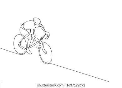 One single line drawing of young energetic man bicycle racer race at cycling track vector graphic illustration. Racing cyclist concept. Modern continuous line draw design for cycling tournament banner