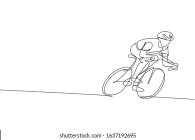 One single line drawing young energetic man bicycle racer focus training his speed vector graphic illustration. Racing cyclist concept. Modern continuous line draw design for cycling tournament banner