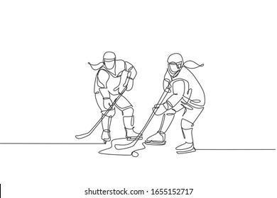 One single line drawing of young two ice hockey player in action to win the puck at competitive game on ice rink stadium vector illustration. Sport tournament concept. Continuous line draw design