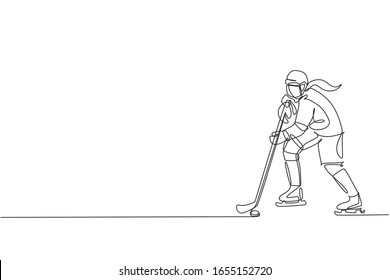 One single line drawing of young ice hockey player in action to play a competitive game on ice rink stadium vector graphic illustration. Sport tournament concept. Modern continuous line draw design