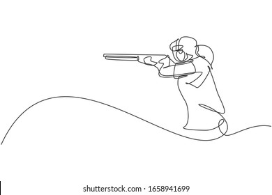 One single line drawing young woman practicing to shot target in range on shooting training ground vector graphic illustration. Clay pigeon shooting sport concept. Modern continuous line draw design