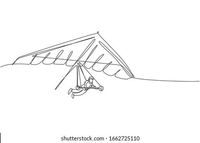 One single line drawing of young sporty man flying with hang gliding parachute on the sky vector graphic illustration. Extreme sport concept. Modern continuous line draw design